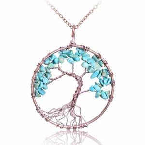 Turquoise Quartz Beaded Tree of Life Pendant